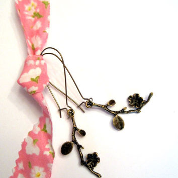 Spring Flower Blossom Earrings Antiqued by VintageOoakDesigns
