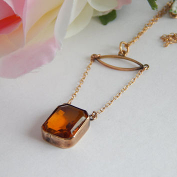 Beautiful Edwardian 9ct Rose Gold Citrine Lariat Drop Necklace - Edwardian Necklace - Edwardian Jewelry - Antique Necklace - Lavaliere
