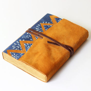 LEATHER, ginger suede,   journal, diary, notebook,  travel journal, dyed paper