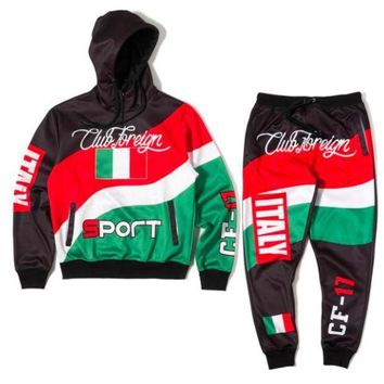 Club Foreign Sports Italy Three Color Hoodies And Sweatpants Suit Set - Beauty Ticks