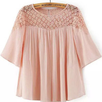 Pink Short Sleeve Lace Pleated Blouse