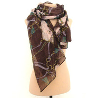 Bordeaux Gucci print Summer Scarf - Extra Large Light Cotton Scarf Shawl Scarves  Spring scarf