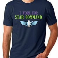 CREW NECK** I Work For Star Command - Men's - Buzz Lightyear Disney Toy Story Star Command space ranger printed graphic shirt
