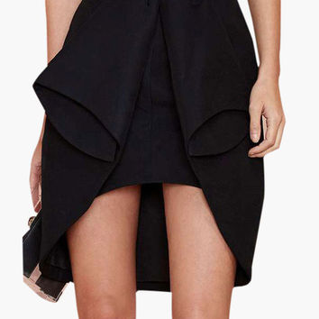 Black Overlay Wrap Skirt
