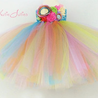 Pinwheel Tutu Dress- Turquoise, Hot Pink, Lime, Lavender, Yellow, Orange, Birthday, 1st birthday, Cake Smash, flowers, girl, pageant dress