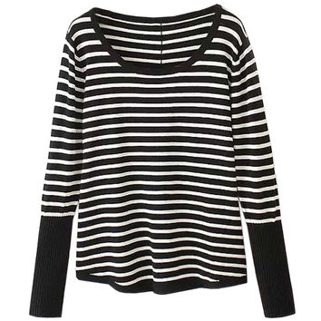 Striped Knitted Button Decoration Back Pullover Sweater