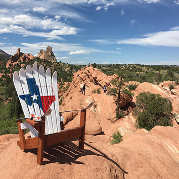 Hand Painted Texas Flag Adirondack Ski chair