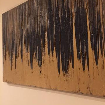 gold and black dripping paint canvas (more color options)
