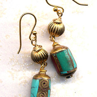 Nepal Earrings. Turquoise and Coral Earrings. Nepal Beads on 18K Gold Filled Wire, Ethnic Earrings, Nepal Jewelry by AnnaArt72