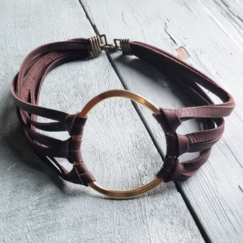 Leather Choker with Large Gold Hoop Center 236K