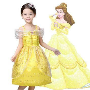 Kids Girl Summer Style Clothes cosplay  costume girls wedding dress Belle Princess dress for Christmas Halloween,fantasia