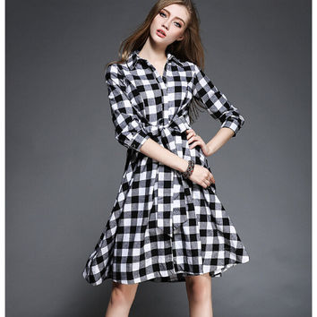 Plaid Tie-Waisted Long-Sleeve Button Collared Dress