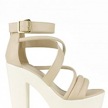 BECK-09-03-15 Lug Sole High Heel Sandals Women Pumps and Heels BEIGE Bare Feet Shoes