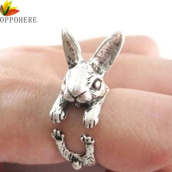 OPPOHERE Super Cute Animal Rabbit Bunny Ring Vintage Wrap Free Shipping Adjustable Size