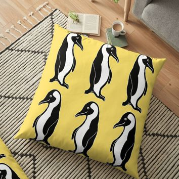 'Penguins Pattern Yellow' Floor Pillow by Abigail Davidson