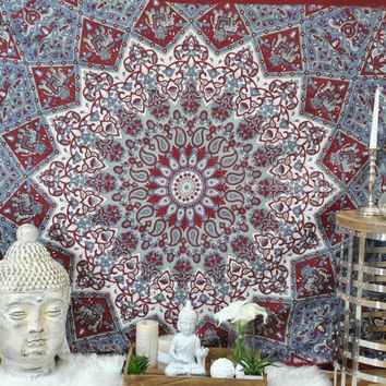 Magical Thinking Wall Bed Beach Floor Boho Tapestry Red Gray Multi