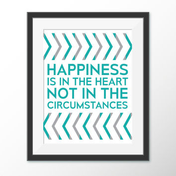 Happiness Printable Wall Art Quote - Arrow Decor - Teal and Grey - Geometric - Wall Art - Poster - Printable Art - Quote -  Digital Download