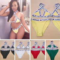 Letter Print Halter Fashion Bikini Set Swimsuit Swimwear