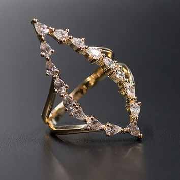 Marquise Diamond Oval Ring
