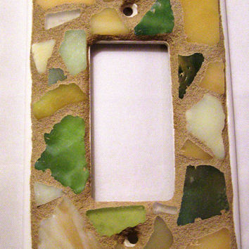 Sea Glass Switch Plate, Green Gold White Sea Glass, Mosaic Switchplate, Beach Decor, Home Decor, Light Switch Cover, Outlet Cover