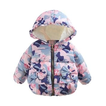 Baby Infant Camouflage Autumn Winter Bow flowers Hooded Coat Cloak Jacket Thick Warm Clothes fashion girls coat lowest price