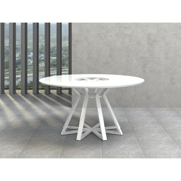 STAR Collection High Gloss White Lacquer  Dining Table CB-3476 by Casabianca Home