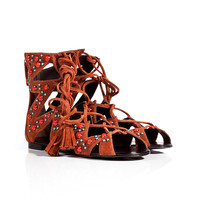 Giuseppe Zanotti - Suede Embellished Lace-Up Gladiator Sandals