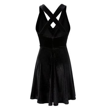 Sexy Black Cross V-Neck Twirly Halter Dress Sundress With Many Size Women Gothic Punk Street Dress For Girl