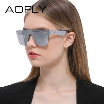 aa13a682d44 AOFLY Sunglasses Men Women Luxury Brand Rimless Fashion Sunglasses Square Mirror  Sun Glasses High Quality Shades