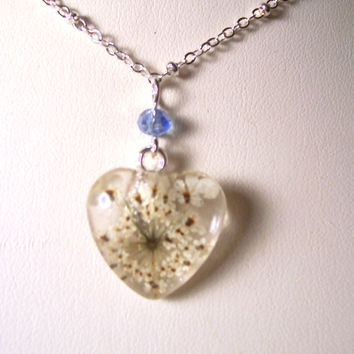 Real Queen Annes Lace Heart Glass Necklace