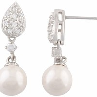 JanKuo Jewelry Rhodium Plated Bridal Prom Simulated Pearl Drop Cubic Zirconia Pave Dangle Earrings