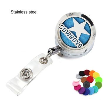 Dallas Cowboy Chicago Cub Perfume Locket Metal Retractable Badge Reel Key Clip Ring Lanyard Name Tag Card Holder Free Pads
