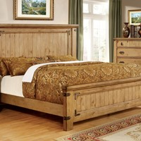 Mallon Country Style Plank Eastern-King Bed in Weathered Elm