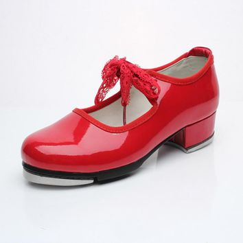 Women Girls Tap Dance Shoes Shiny Patent PU Leather Laced Black White Red Kids Tap Shoes Teacher Stage Shoes Size 26-42 1789