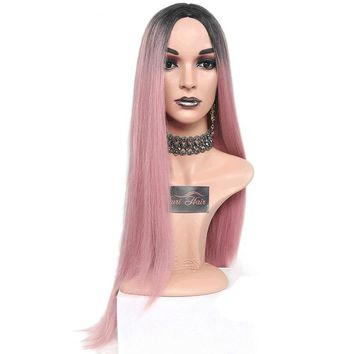 Long Straight Ombre Pink Heat Resistant Synthetic Two Tone Wig