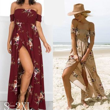Newstar Boho Maxi Long Dresses for Women Floral Off the Shoulder Sexy Girls Beach Dress for Wedding Party
