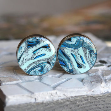 "32mm Plugs, Blue Plugs, 32mm Gauges, Large Plugs, Double Flare, Clay Plugs - size 1 1/4"" (32mm)"