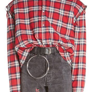 Vetements Pierced Plaid Flannel Shirt | Nordstrom