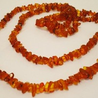 Antique Long Genuine Baltic Egg Yolk Amber Necklace 53 Gr. Very Beautiful! (38)