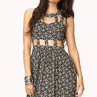 FOREVER 21 Cutout Floral Fit & Flare Dress Black/Ivory Large