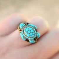 Turtle RING To Order Turquoise Blue Ocean Sea Brown Gun by gabeadz