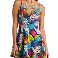 TROPICAL PRINT PLUNGING SWEETHEART SKATER DRESS
