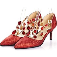 Women's Sexy Sequined Rhinestones Buckle Closed Pointed Toe Stiletto Kitten Heels Pumps Shoes