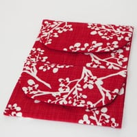 Snowy Winter Branches Red Gift Card Holder Case Set of Two