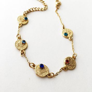 FREE SHIPPING - Evil eye chain bracelet - gold evil eye bracelet, gold evil eye jewelry, jewelry for mothers - evil eye bead bracelet