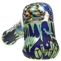 Liberty 503 Glass Sandblasted Hammer Pipe w/Inside Out Art