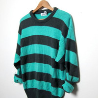 80s striped sweater. turquoise and gray sweater.