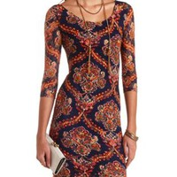 Scarf Print Bodycon Lace Dress by Charlotte Russe - Navy Combo