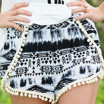Pom Pom Printed Shorts in Aztec