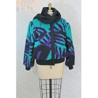 Vintage Abstract Sweater Knit  Scarf Bomber Jacket